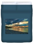 Sunset On Rocky Beach Duvet Cover