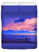 Sunset On Sand Beach Acadia National Park Maine Duvet Cover