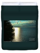 Sunset On The Bay Of Green Bay Wi Duvet Cover