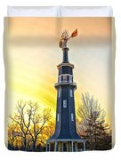 Sunset On The Dwight Windmill Duvet Cover