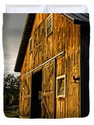 Sunset On The Horse Barn Duvet Cover