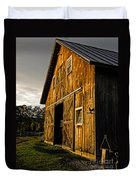 Sunset On The Horse Barn Duvet Cover by Edward Fielding