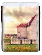 Sunset On The Old Farm House Duvet Cover
