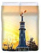 Sunset On The Windmill Duvet Cover