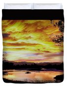 Sunset Over A Country Pond Duvet Cover