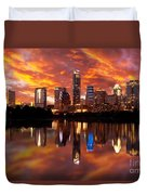 Sunset Over Austin Duvet Cover