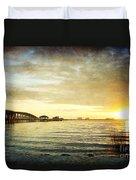 Sunset Over Biloxi Bay Duvet Cover