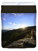 Sunset Over Halloween Decorations On Black Rock Mountain Duvet Cover