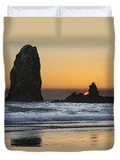 Sunset Over Haystack Needles Rocks Duvet Cover