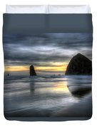 Sunset Over Haystack Rock In Cannon Beach Duvet Cover