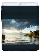 Sunset Over Lake Maggiore In Italy Duvet Cover