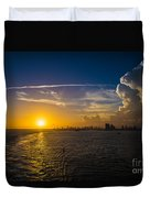 Sunset Over Miami From Out At Sea Duvet Cover