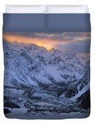 Sunset Over Mueller Glacier Lake Duvet Cover