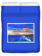 Sunset Over Point Lonsdale As Viewed From Cape Schanck  Duvet Cover