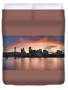 Sunset Over Portland Oregon Waterfront Panorama Duvet Cover