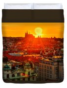 Sunset Over Prague Duvet Cover