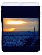 Sunset Over The Eiffel Tower Duvet Cover