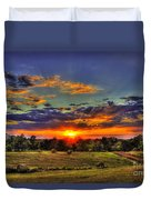 Sunset Over The Hay Field Duvet Cover