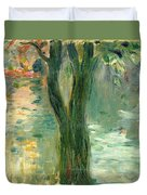 Sunset Over The Lake Bois De Boulogne Duvet Cover