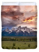 Sunset Over The Tetons  Duvet Cover