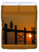 Sunset Over The U Bein Foot Bridge Duvet Cover