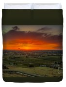 Sunset Over The Valley Duvet Cover by Robert Bales