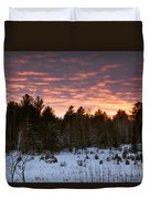 Sunset Over The Winter Forest Duvet Cover