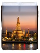 Sunset Over Wat Arun Temple - Bangkok Duvet Cover