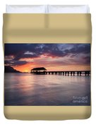 Sunset Pier Duvet Cover by Mike  Dawson