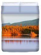 Sunset Reflections On Boreal Forest Lake In Yukon Duvet Cover
