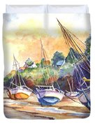 Sunset Sail On Brittany Beach  Duvet Cover