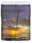 Sunset Sailboat Vertical Duvet Cover
