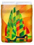 Sunset Sails And Shadows Duvet Cover