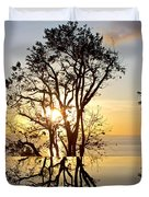 Sunset Silhouette And Reflections Duvet Cover