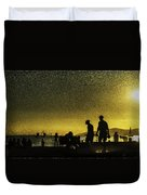 Sunset Silhouette Of People At The Beach Duvet Cover