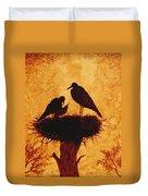 Sunset Stork Family Silhouettes Duvet Cover