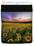 Sunset Sunflowers Duvet Cover by Debra and Dave Vanderlaan