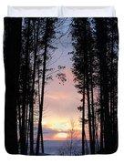 Sunset Through The Pines Duvet Cover
