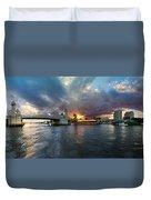 Sunset Waterway Panorama Duvet Cover