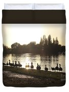 Sunset With Geese On The Thames Duvet Cover