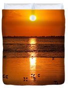 Sunset With The Birds Photo Duvet Cover
