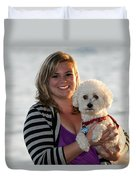Sunset With Young American Woman And Poodle Duvet Cover