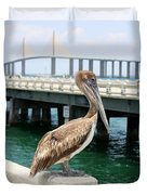 Sunshine Skyway And Pelican Duvet Cover by Carol Groenen
