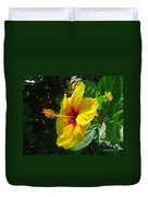 Sunshine Yellow Hibiscus With Red Throat Duvet Cover