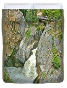 Sunwapta Falls Along  Icefields Parkway In Alberta Duvet Cover