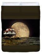 Super Moon Lighthouse Duvet Cover