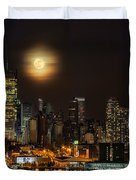 Super Moon Over Nyc Duvet Cover