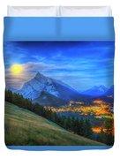 Super Moonrise Over Banff Duvet Cover