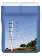 Super Power Pole And Wires Duvet Cover