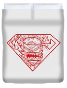 Superman And Doomsday Red Duvet Cover
